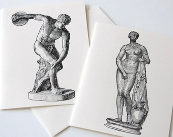Greek Statue Note Card Set of 10 in White or Light Ivory with Matching Envelopes
