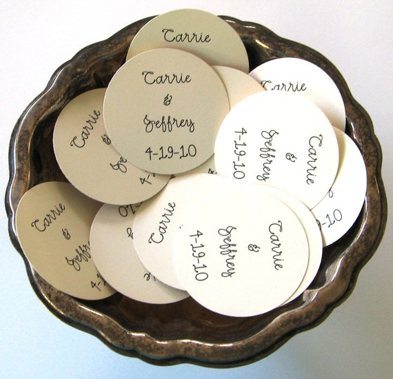 Gift Tags For Wedding Favors: Wedding Favor Tags Set Of Ten Personalized Round Paper Gift