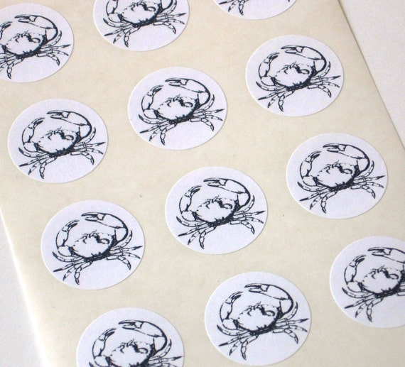 Crab Stickers - One Inch Round Seals - Set of 12
