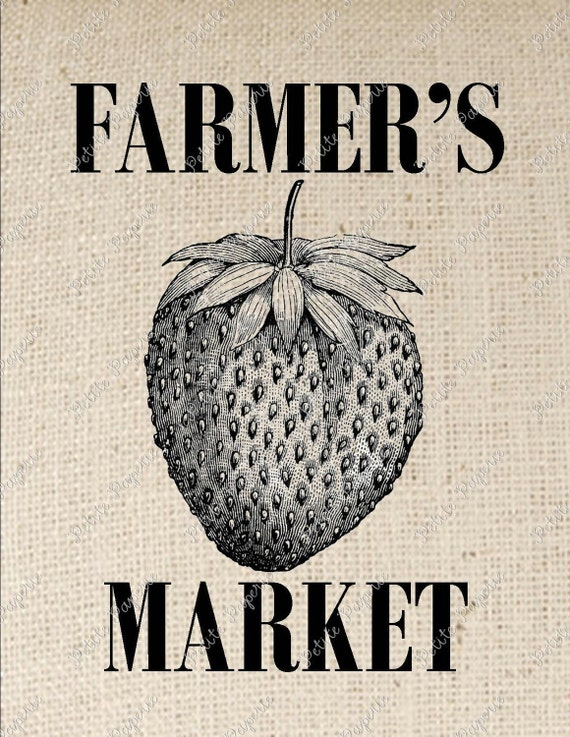 Strawberry Farmer's Market Digital Download Iron on Transfer
