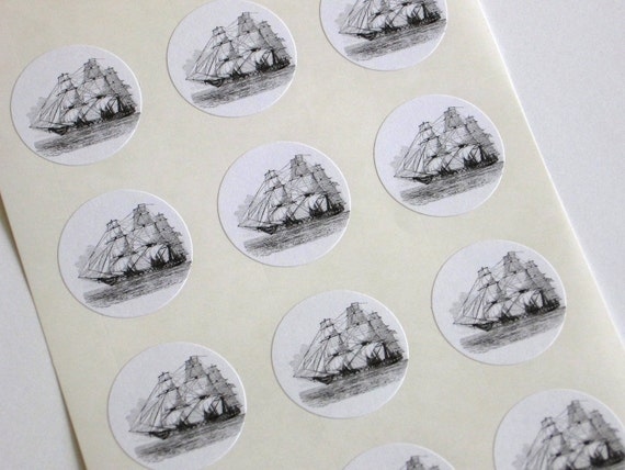 Sailing Ship Stickers - One Inch Round Seals