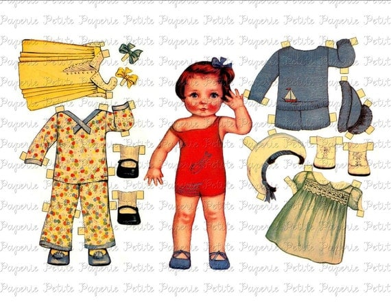 Vintage Paper Doll Digital Download Collage Sheet G