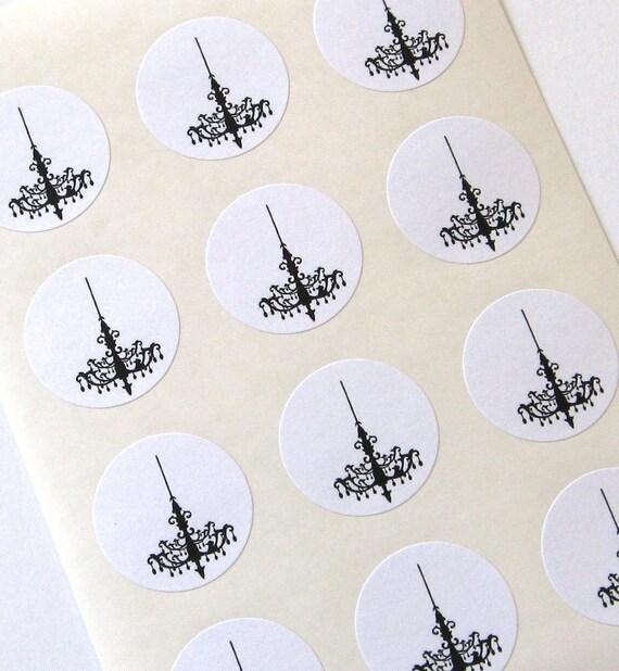 Chandelier Stickers One Inch Round Seals