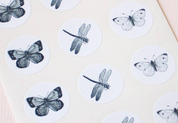 Butterfly Dragonfly Stickers - One Inch Round Seals