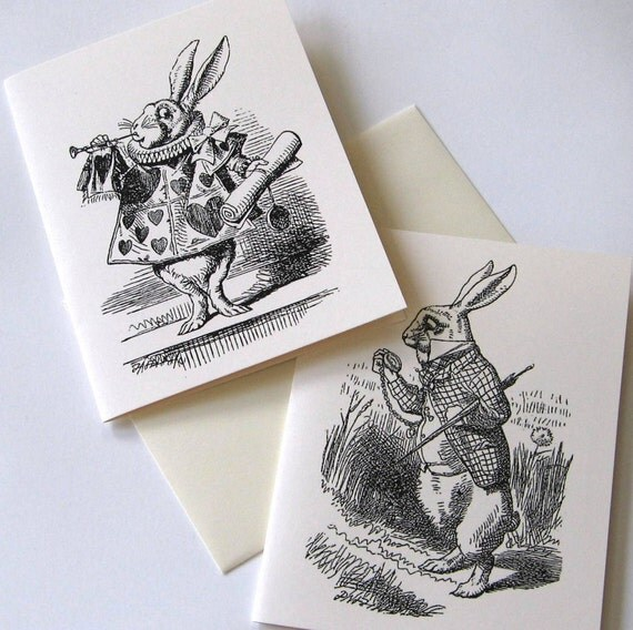 Set of 12 Wonderland Rabbits Notecards