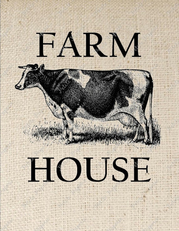 Farm House Cow Digital Collage or Iron on Transfer
