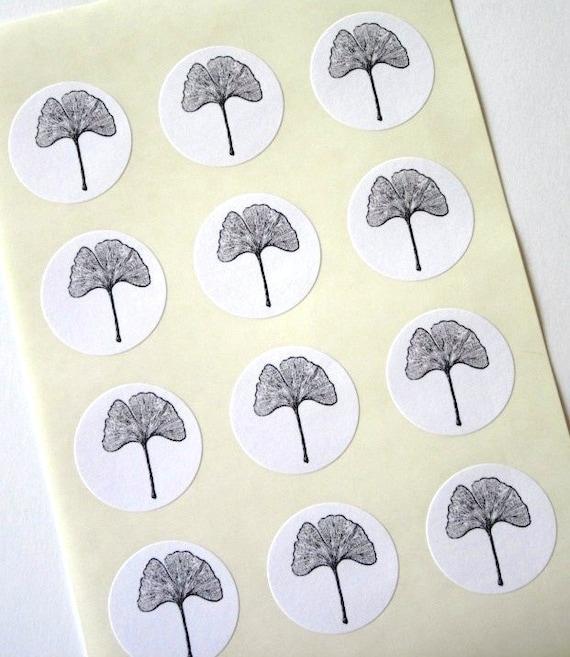Ginkgo Leaf Stickers One Inch Round Seals