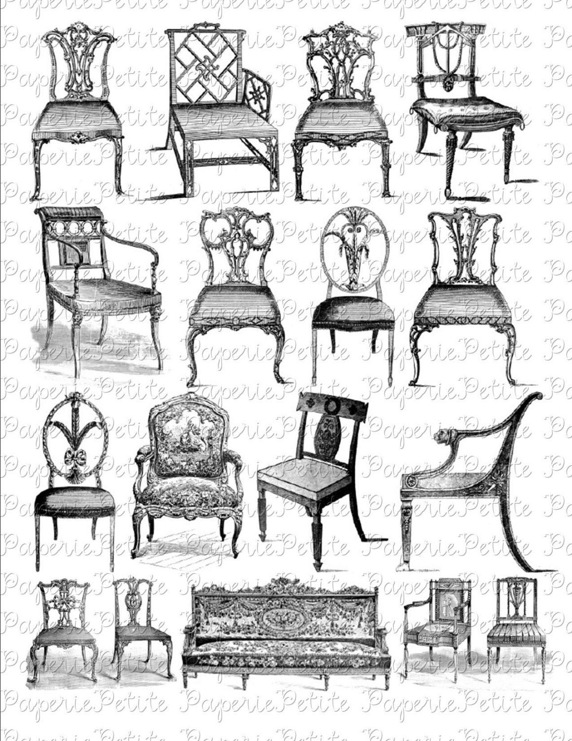 Vintage chairs digital collage for All types of chairs