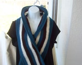 SALE.         Crocheted Long Scarf.     Teal, Brown,and White. 80 inches long x 8 inches wide