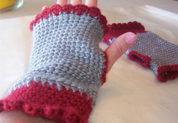 SALE..  Crocheted Fingerless Gloves..Hand Warmers..With ruffle shell edging.