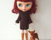 Chocolate brown knitted Blythe dress for winter