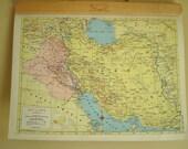 Iran Iraq Turkey Syria Lebanon vintage map, 1957 atlas
