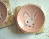 Peter Rabbit drawer pull, drawer knob, 1950s bunny rabbit, enameled steel, pink dresser knob, childs bedroom decor, original package