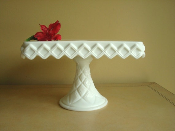 Vintage Square Milk Glass Cake Stand By Sunnydayvintage On