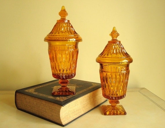 Pair apothecary jars, candy bowls, Mt. Vernon tall candy box pair, 1970s Indiana Glass, candy dish, honey amber apothecary jars, candy boxes