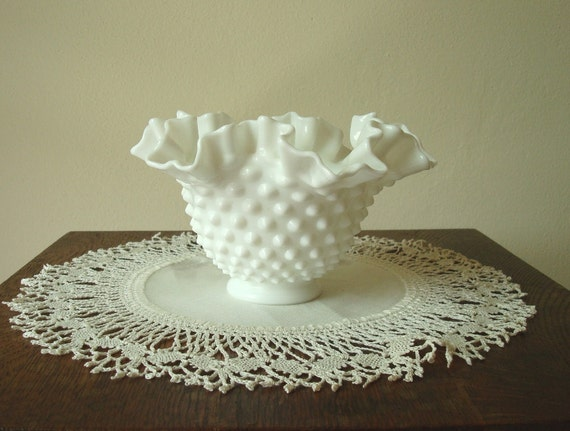 Fenton hobnail ruffle-top milk glass bowl