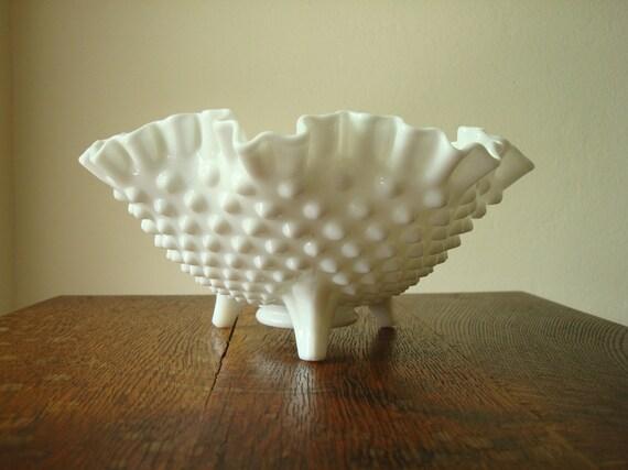 Fenton hobnail milk glass three-toed bowl