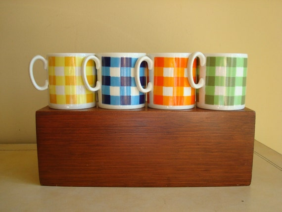 RESERVED for E -- plaid mugs, yellow blue orange green, Rossini Japan