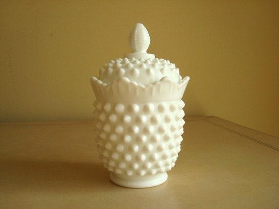 Fenton hobnail milk glass sugar bowl canister, 1960s