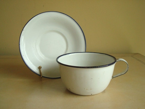 Tin coffee cup & saucer, made in Sweden