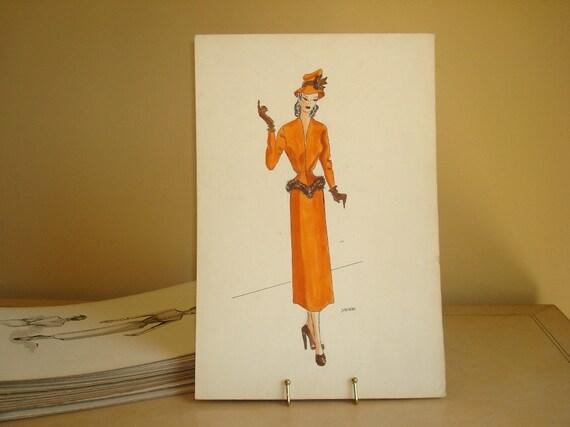 1948 fashion illustration, Orange Daytime Ensemble, original watercolor