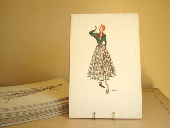 1940s Redhead fashion illustration, original watercolor