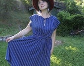 RESERVED for Katherine Davis - Be a Gypsy Dancer - Swishy Blue Vintage 1970s Day Dress with Full Skirt M L