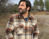 Goin Home - Rustic 1960s Plaid Flannel Lined Jacket SEARS Mens Med