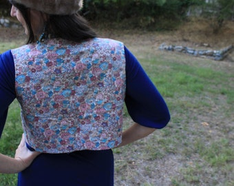 Calico Jane - Vintage Floral Quilted Vest Tiny Reversible Hippie Folk Bohemian Boho Handmade XS
