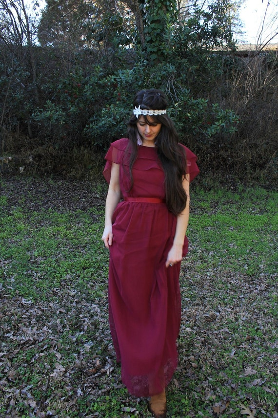 BLACKBERRY WINE - Vintage 1970s 70s Party Gown Maxi Dress Retro Romantic Flowy Burgundy Wine Maroon Disco Queen Gothic Goth  Med