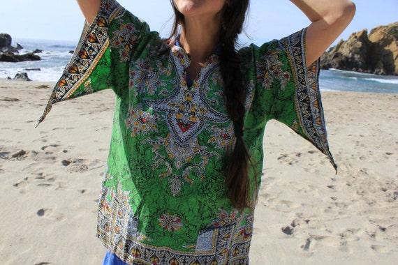Electric Ladyland - Vintage 60s Hippie Indian Tunic Dashiki Ethnic with Angel Sleeves OSFM