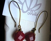 Cranberry Jewel Drop Earrings