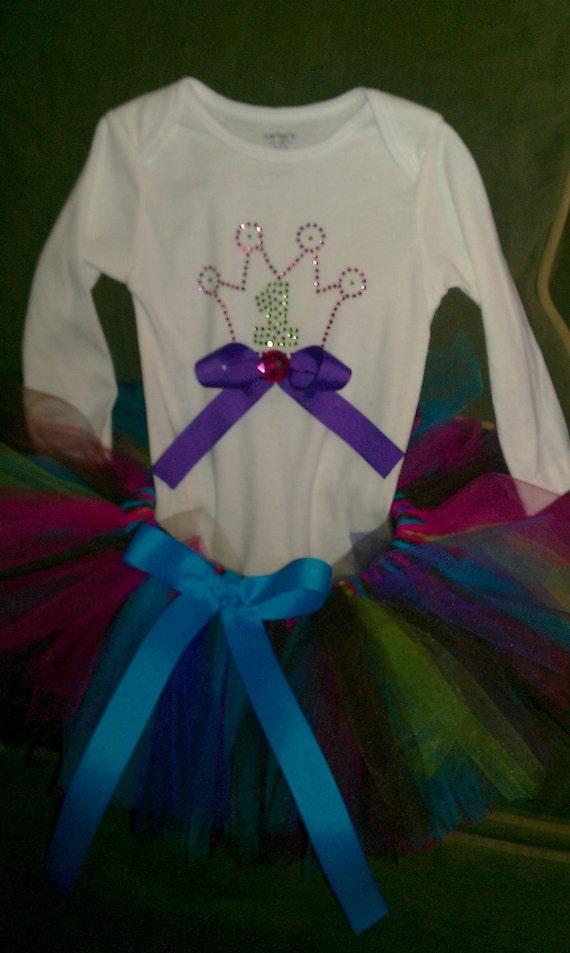 Birthday Tutu and shirt set --- bright colored tutu w matching princess first birthday