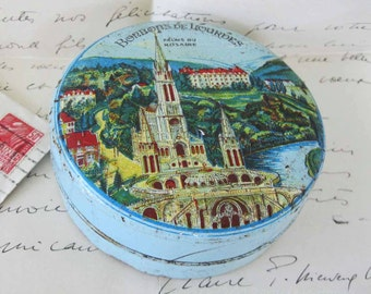 French Candy Tin - Vintage - Lourdes - Turquoise