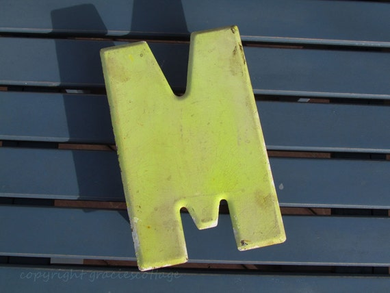 RESERVED FOR MON21     A262 Vintage Metal 7 Inch Sign Letter M  - Yellow