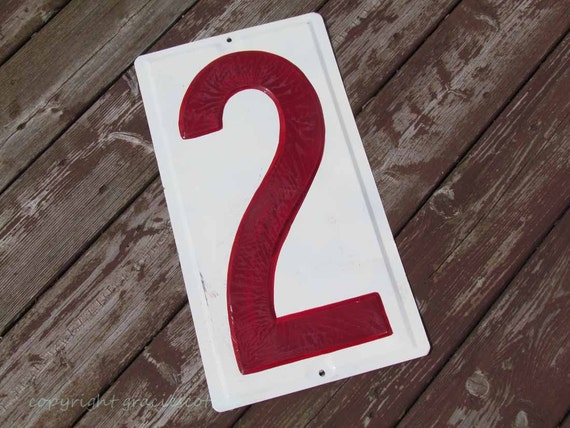 "N32  BIG Vintage19"" Cherry Red on White Sign Number 2"