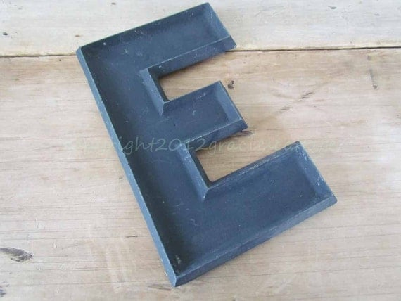 Letter E - Vintage Metal 10 Inch Theatre Marquee Sign Letter - Black  -  N711