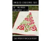 Quilt Pattern PDF Swirled Christmas Tree Applique Wall Hanging -- Scrap Friendly
