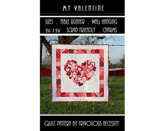 Quilt Pattern PDF My Valentine Applique Table Runner -- Scrap Friendly