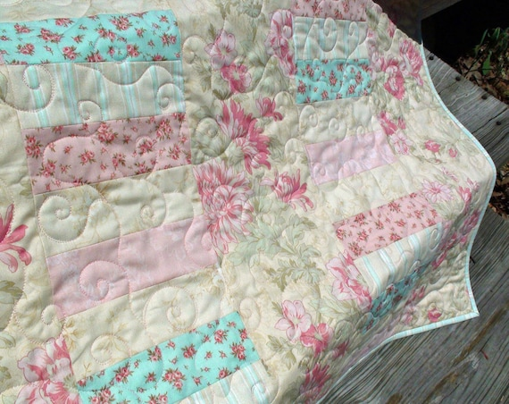 Shabby Chic Strips Baby Quilt In Beach House By Robyn Pandolph