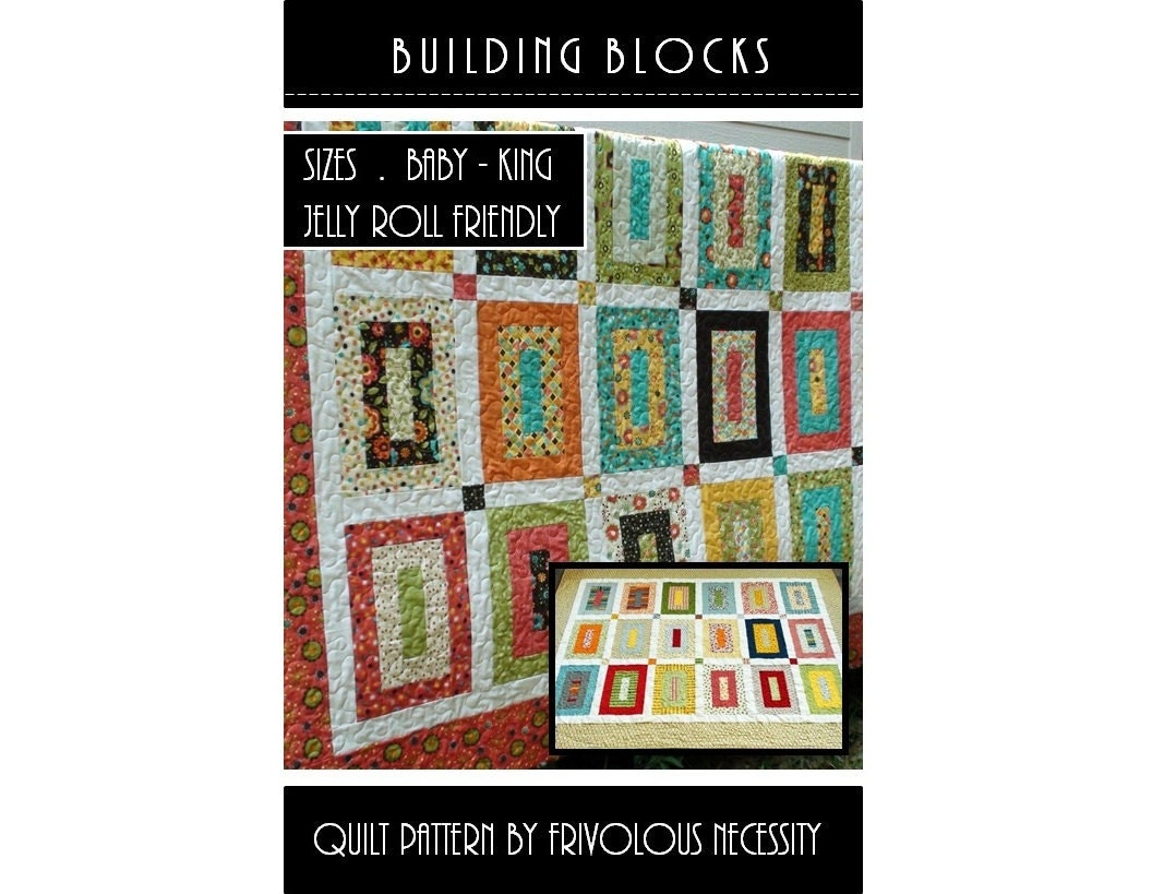 Quilt Pattern With Different Size Blocks : Quilt Pattern PDF Building Blocks All Sizes Jelly Roll