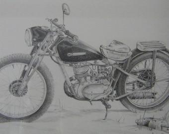 Motorcycle art original pencil drawing travel vintage bike illustration black and white m3DrawingsPlus