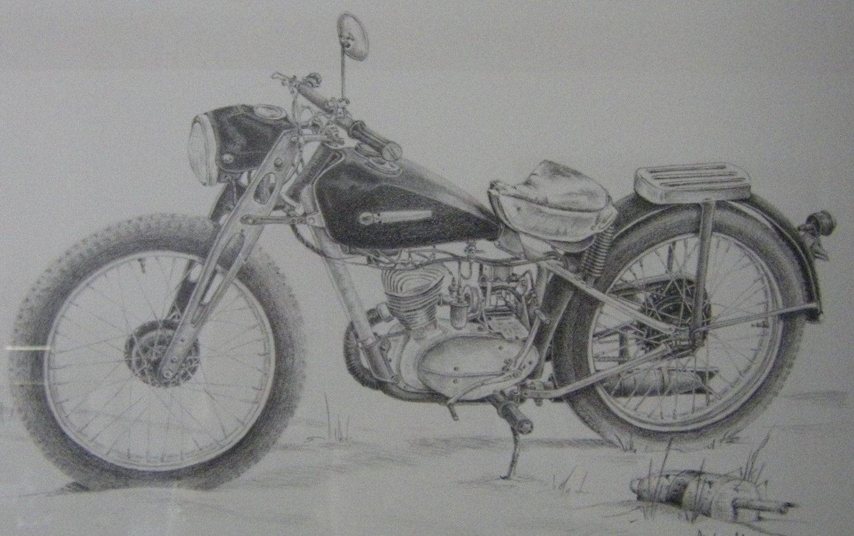 Motorcycle art original pencil drawing travel vintage bike