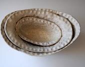 Nesting Oval Bowls in oatmeal - HANDMADE TABLEWARE -  functional ceramic -
