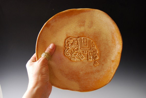 Ceramic plate Handmade Amber Wedding gift Organic shaped Tableware dinner plates Elephant