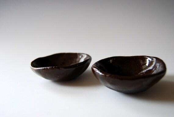 Dark Brown salt & pepper mini bowls  Set of 2 organic Shapped Modern Unique home decor  Handmade Ceramic Wedding Gift