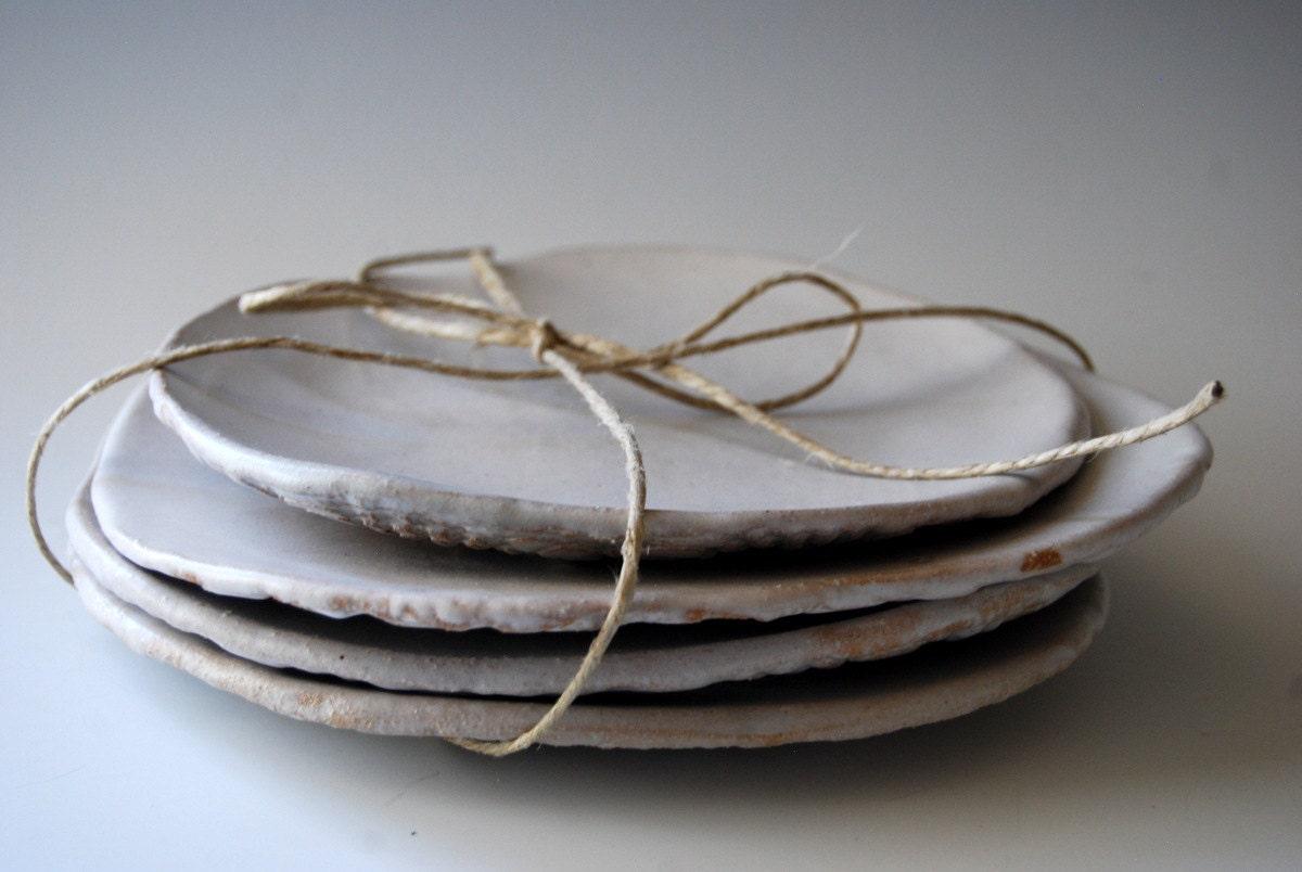 White Ceramic Plates Dessert Plates Handmade By