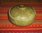 lidded stoneware iron green bowl