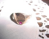 Ancient Egyptian Eye Of Horus Ra gold ring with genuine ruby EYE Of GOD Vintage antique ring item#431599