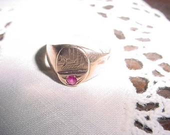 Graduation gift   Ancient Egyptian Eye Of Horus Ra gold ring with genuine ruby EYE Of GOD Vintage antique ring item#431599